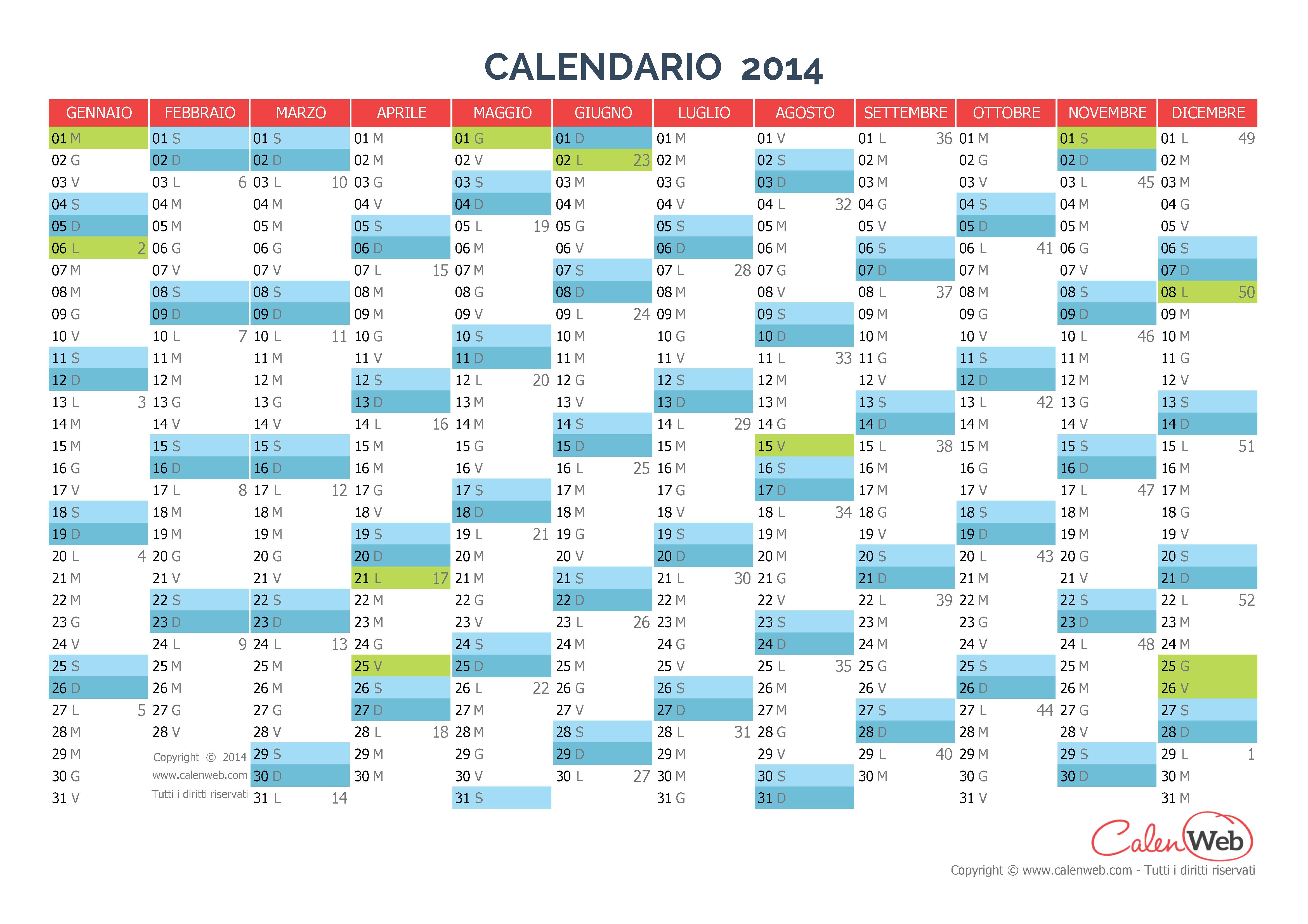 Calendario Anno 2014.Calendario Annuale Anno 2014 Con Le Festivita Italiane