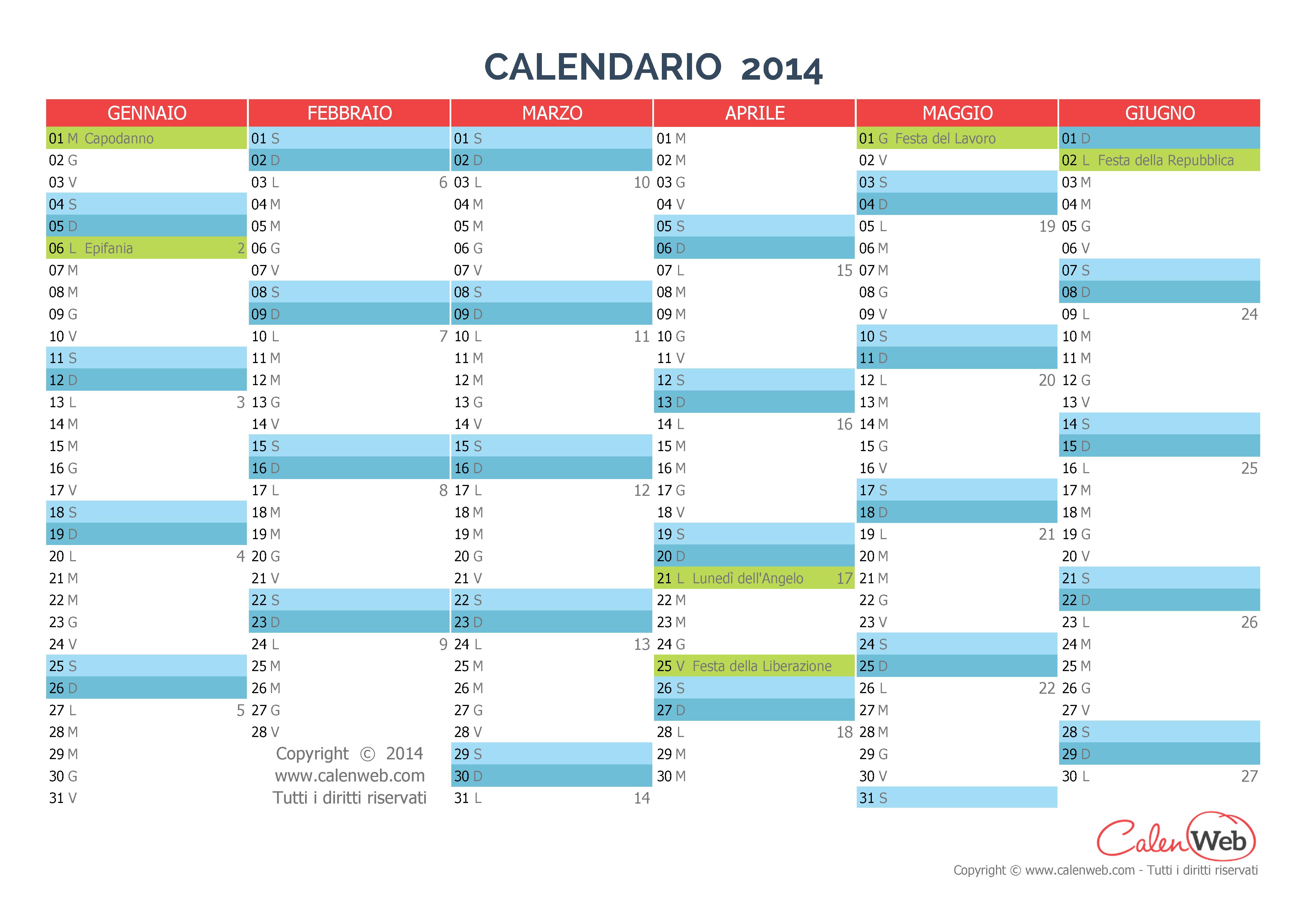 Calendario Anno 2014.Calendario Semestrale Anno 2014 Con Le Festivita Italiane
