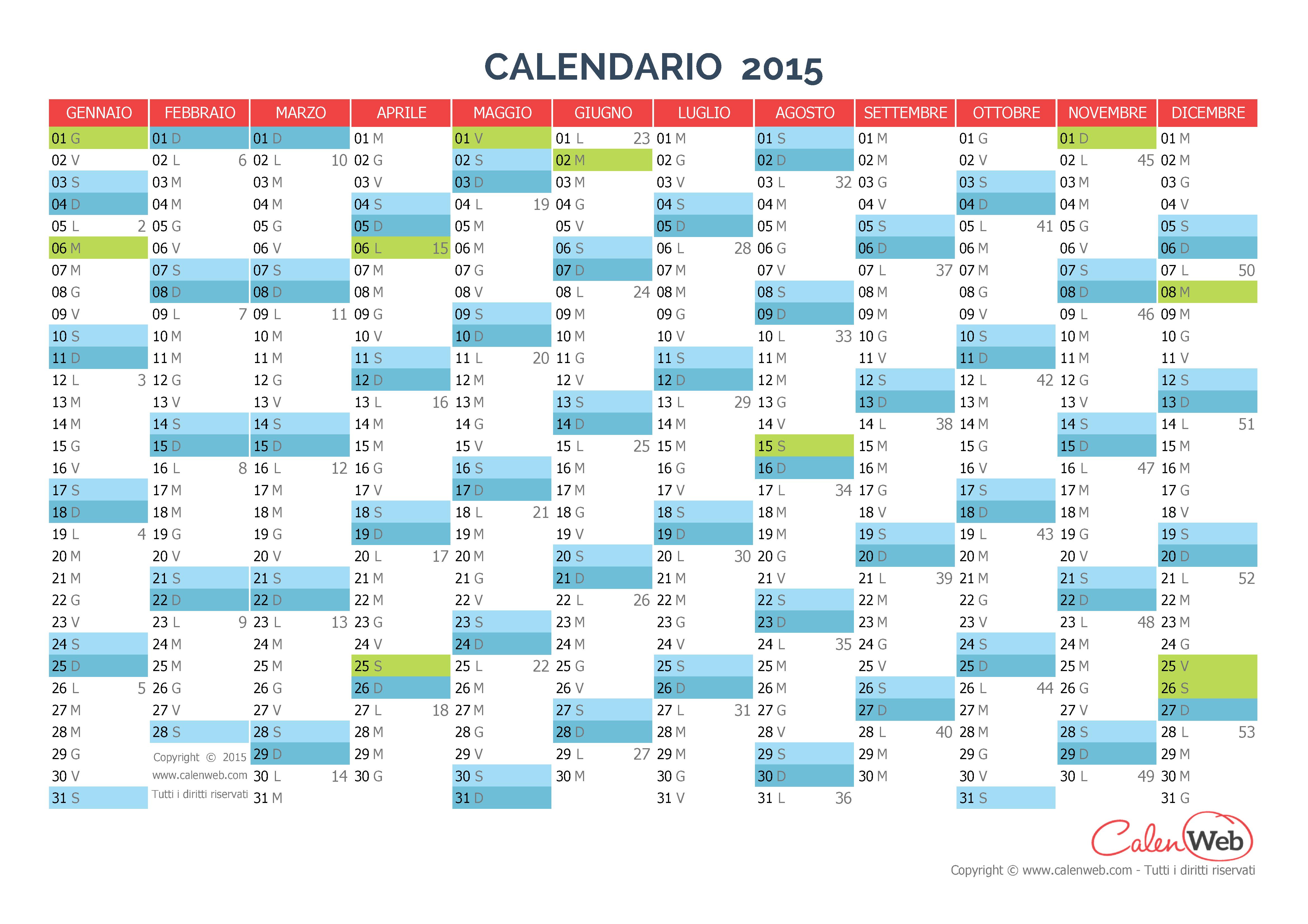 Calendario Anno 2015.Calendario Annuale Anno 2015 Con Le Festivita Italiane