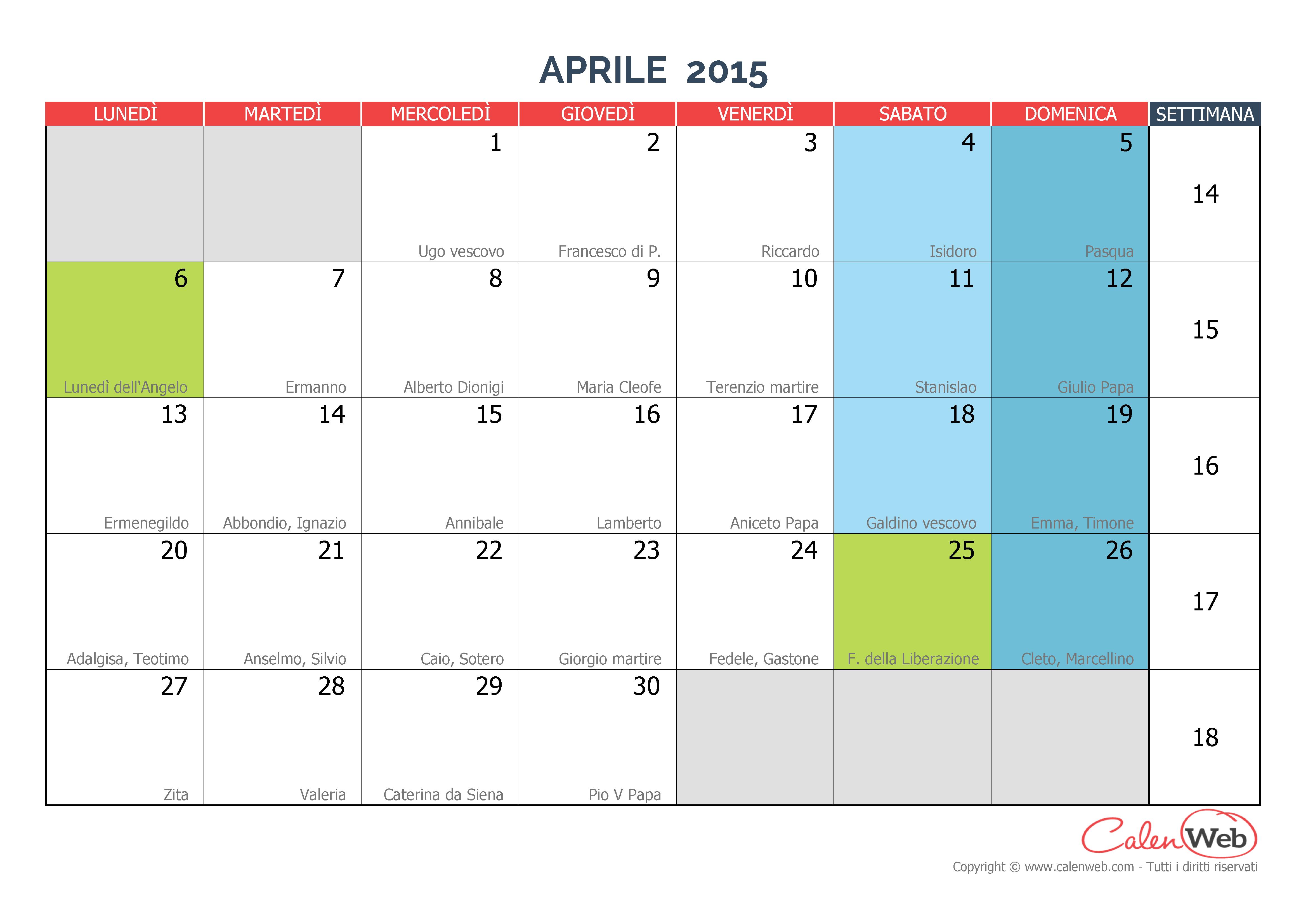 Santi Del Calendario.Calendario Mensile Mese Di Aprile 2015 Con Le Festivita