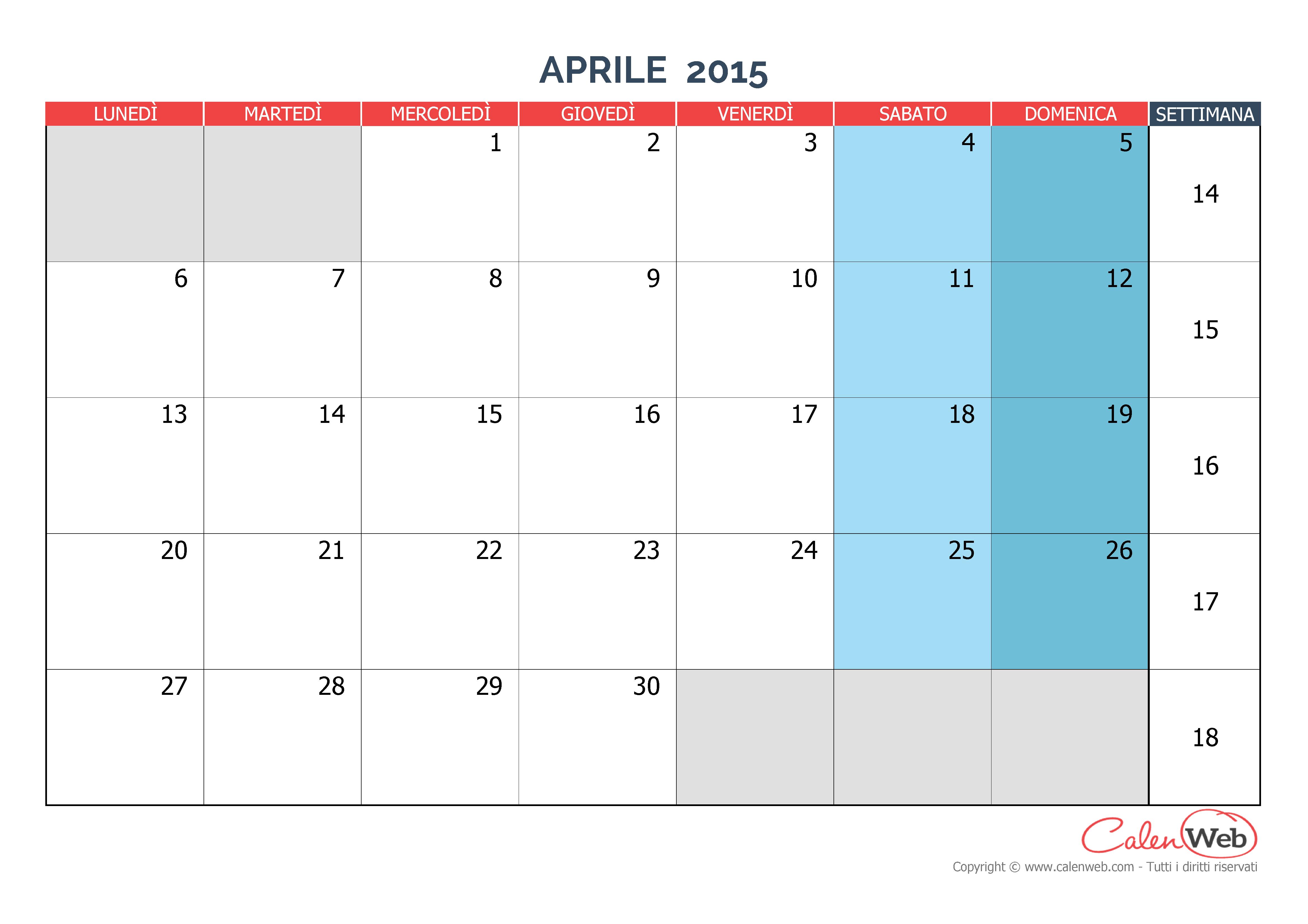 Calendario mensile - Mese di aprile 2015 Versione vergine - Calenweb ...