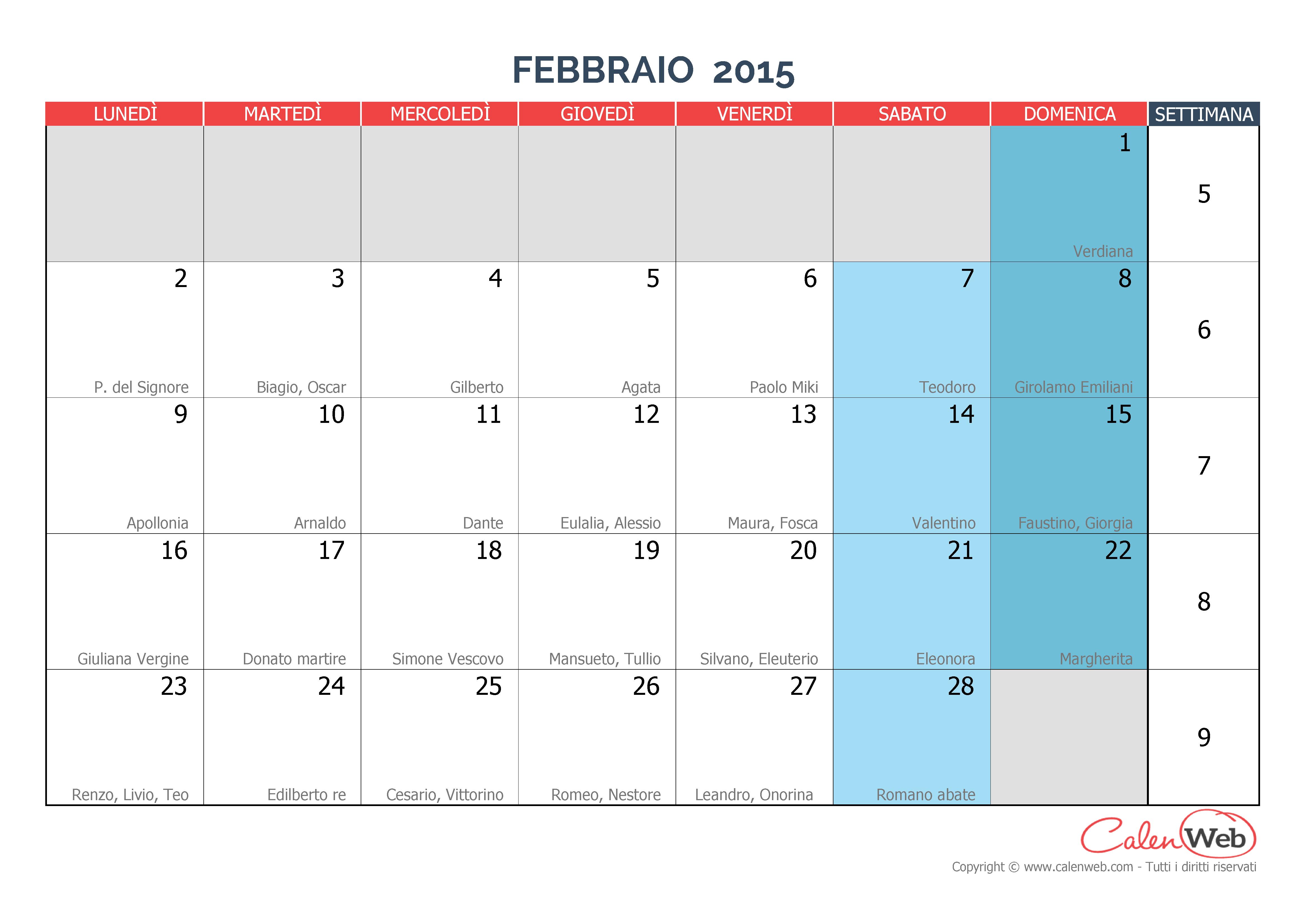 Calendario mensile - Mese di febbraio 2015 con le festività italiane ...