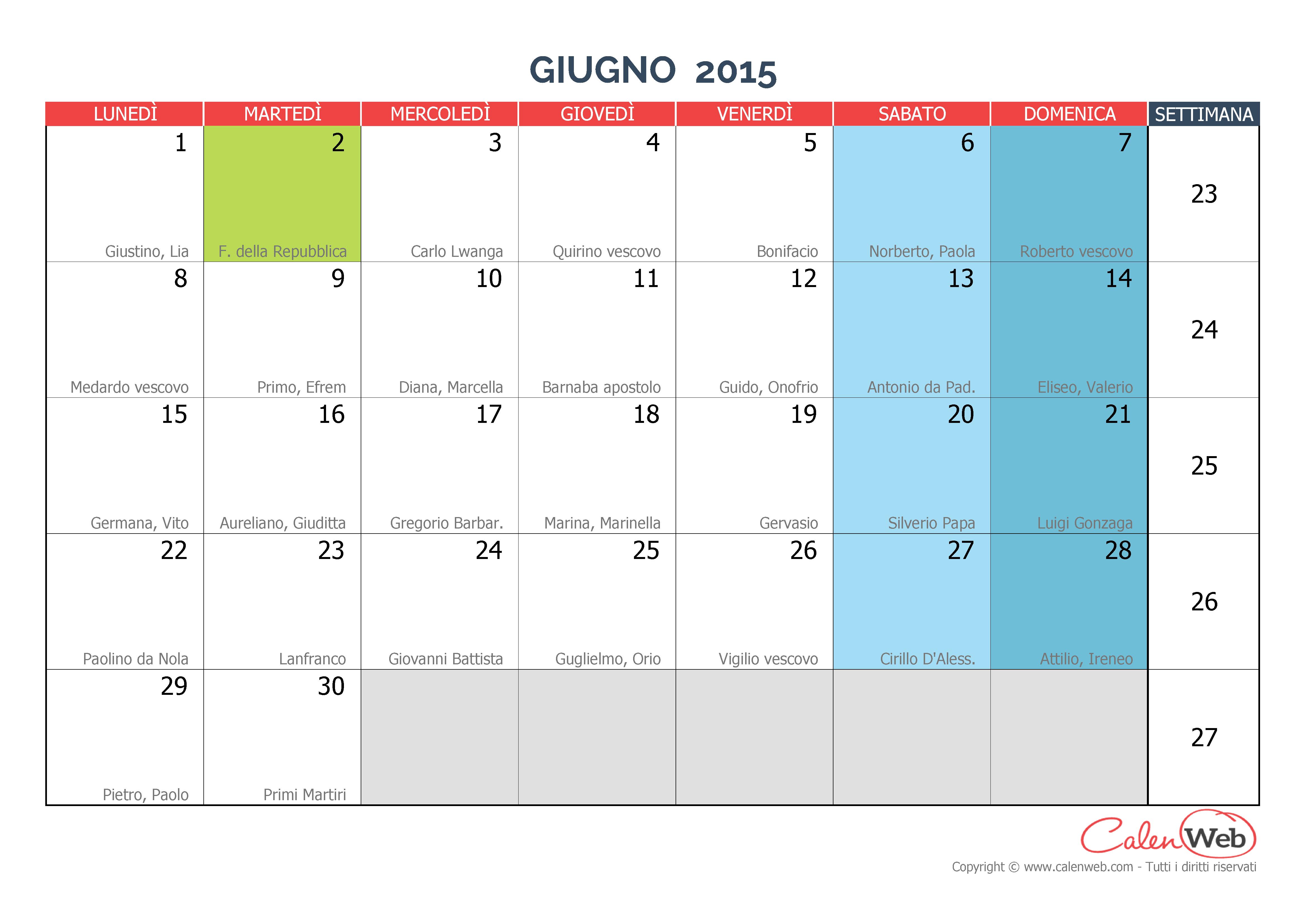 Calendario Mese Giugno.Calendario Mensile Mese Di Giugno 2015 Con Le Festivita