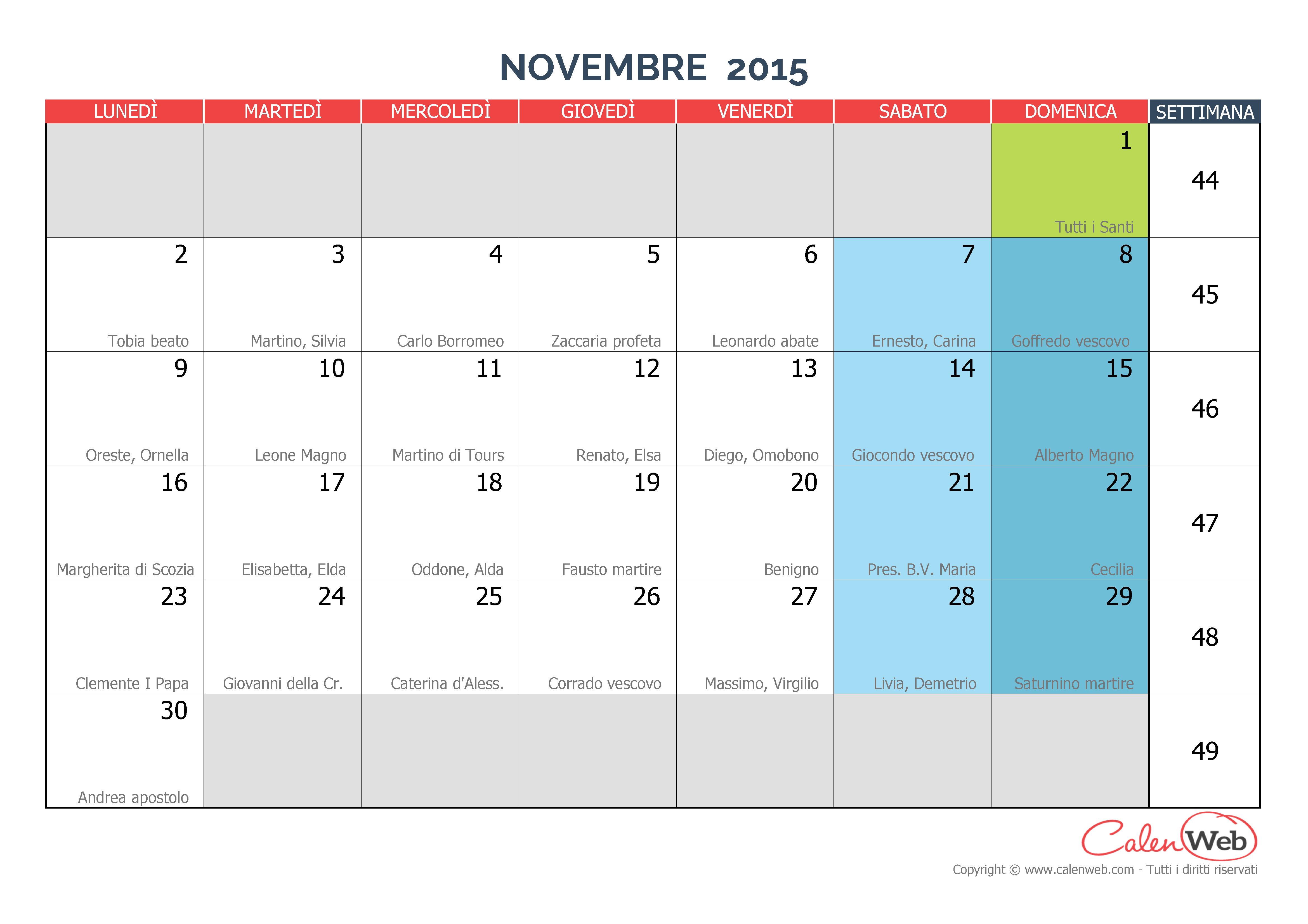 Calendario mensile - Mese di novembre 2015 con le festività italiane ...