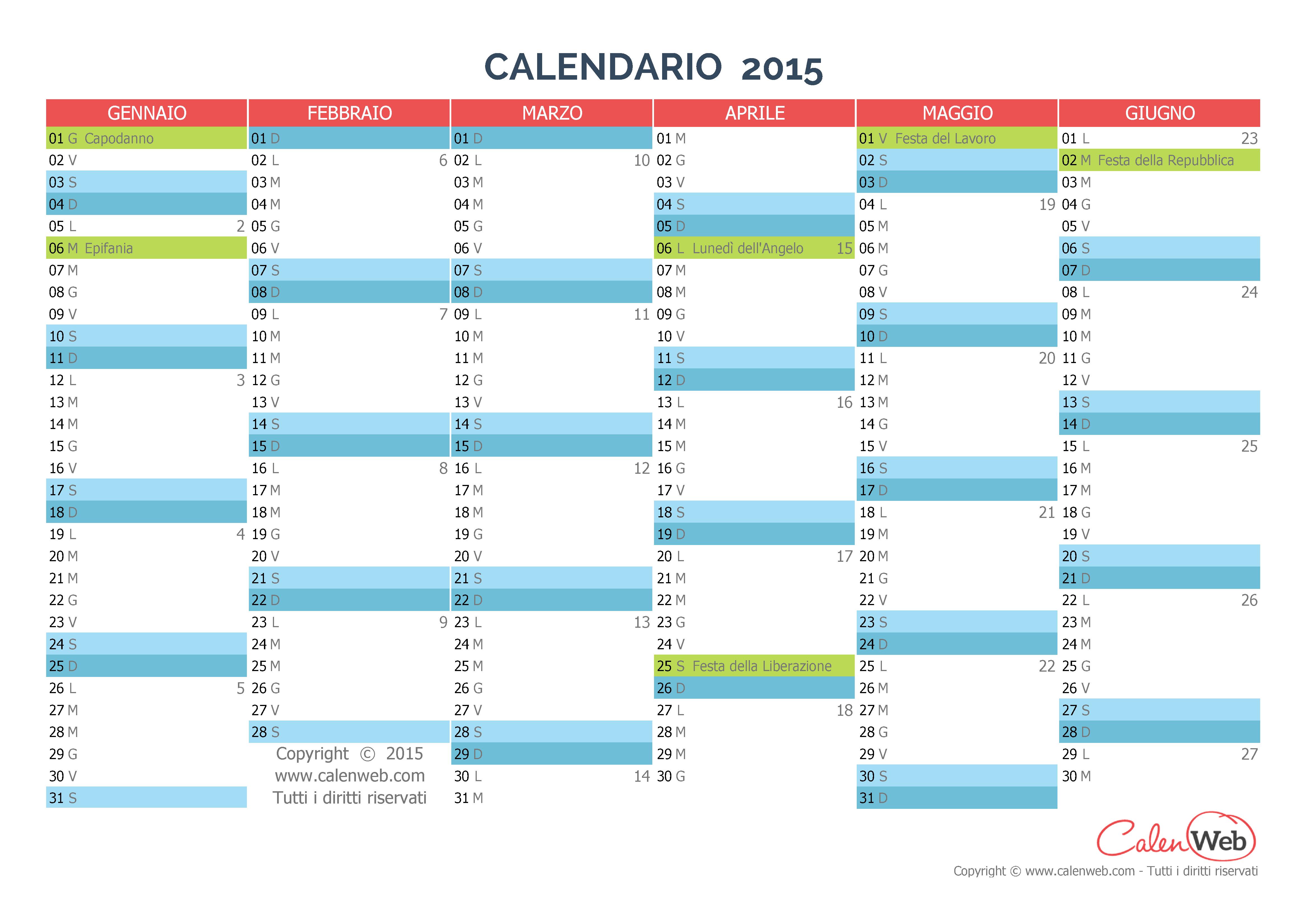 Calendario Anno 2015.Calendario Semestrale Anno 2015 Con Le Festivita Italiane