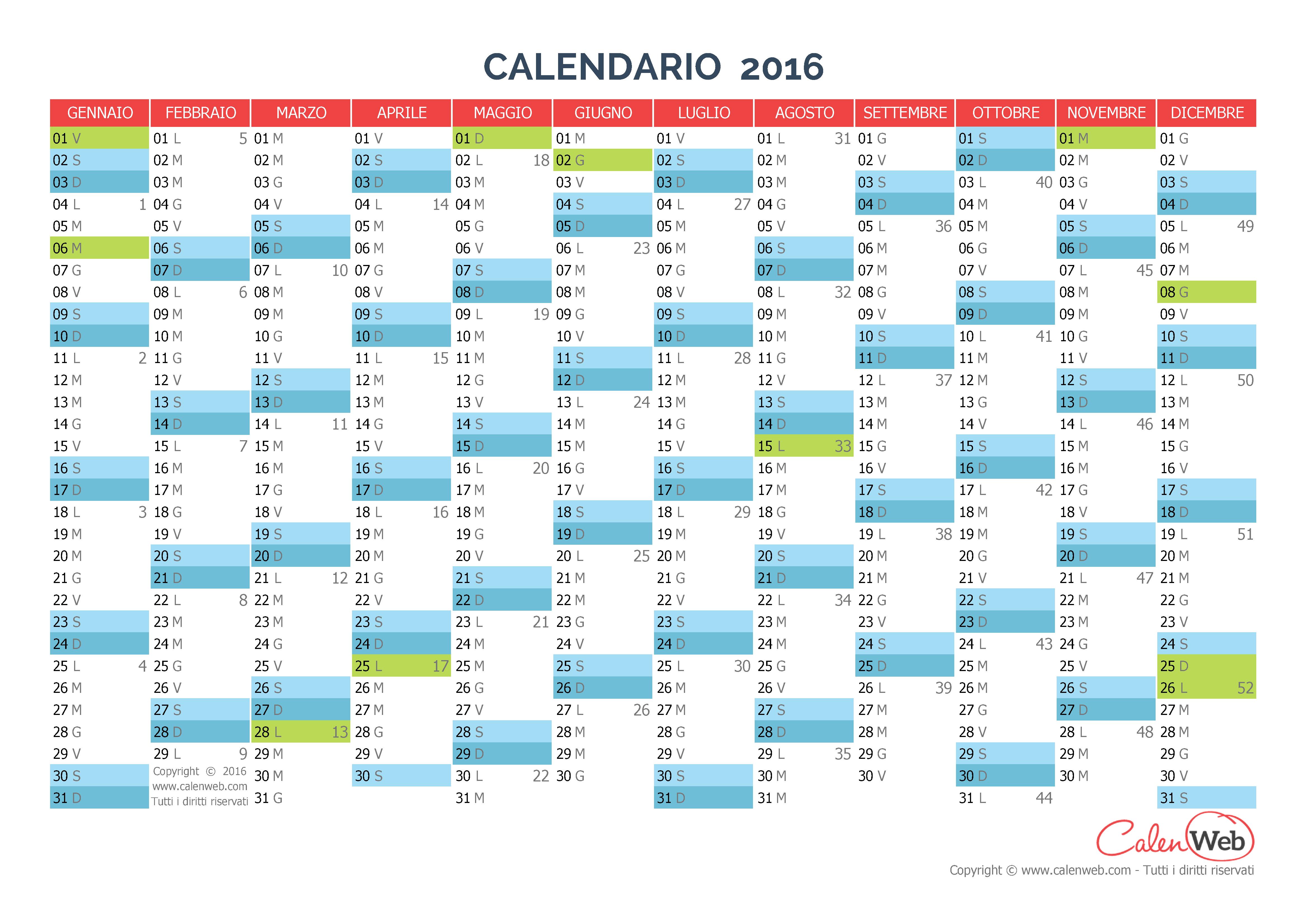 Calendario annuale - Anno 2016 con le festività italiane - Calenweb ...