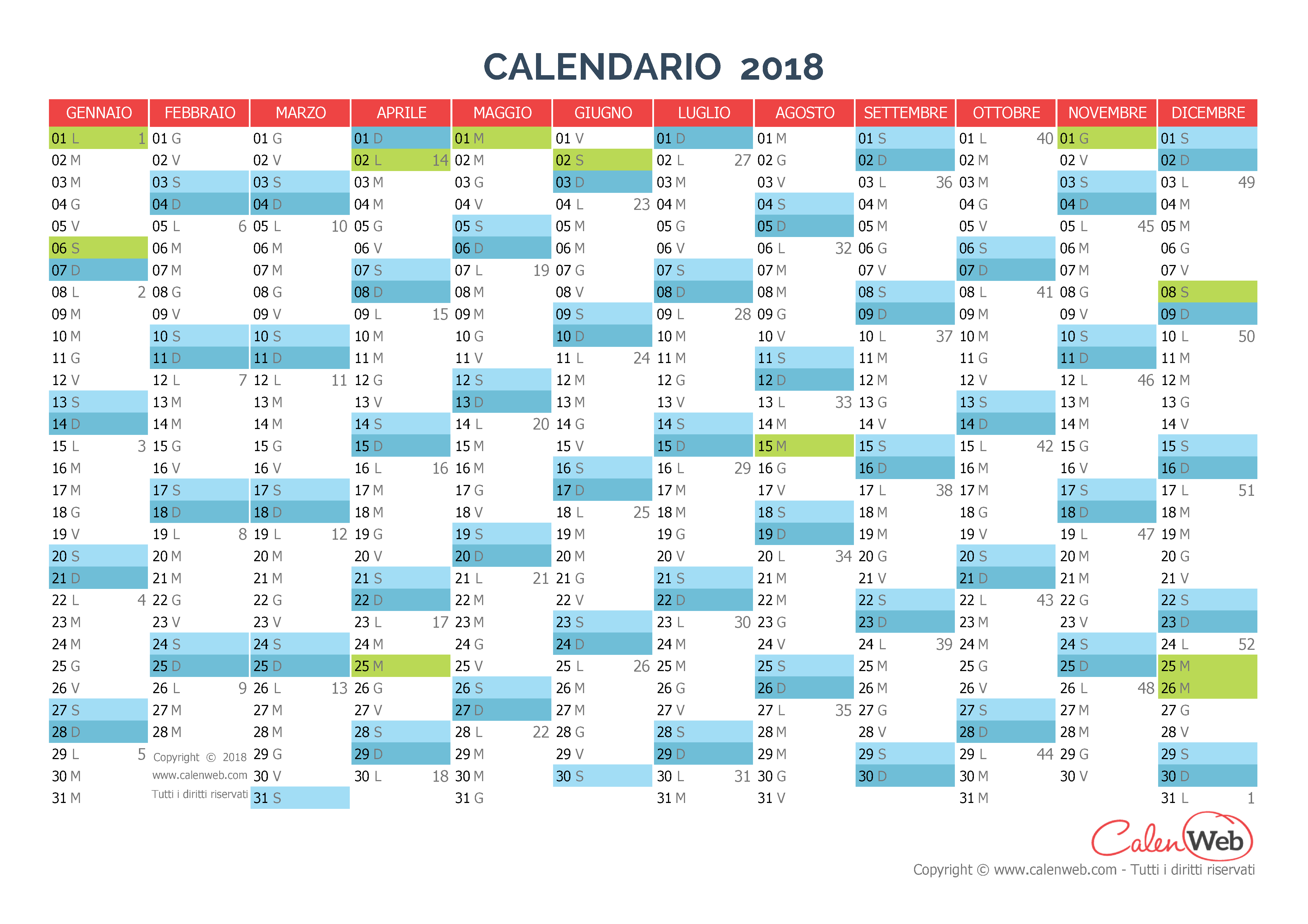 Calendario Con Festivi.Calendario Annuale Anno 2018 Con Le Festivita Italiane