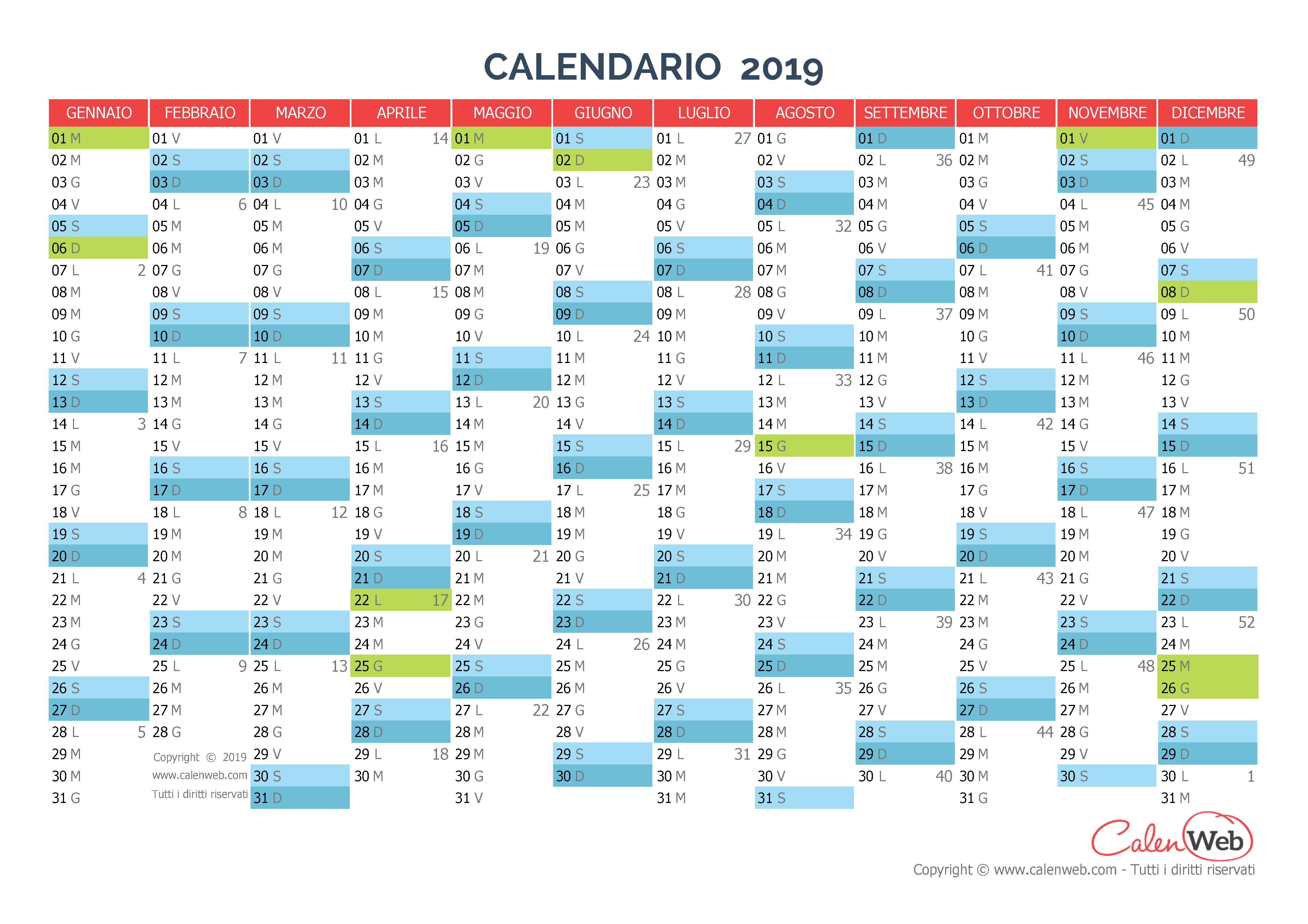 Calendario Annuale Da Stampare 2019.Calendario Annuale Anno 2019 Con Le Festivita Italiane