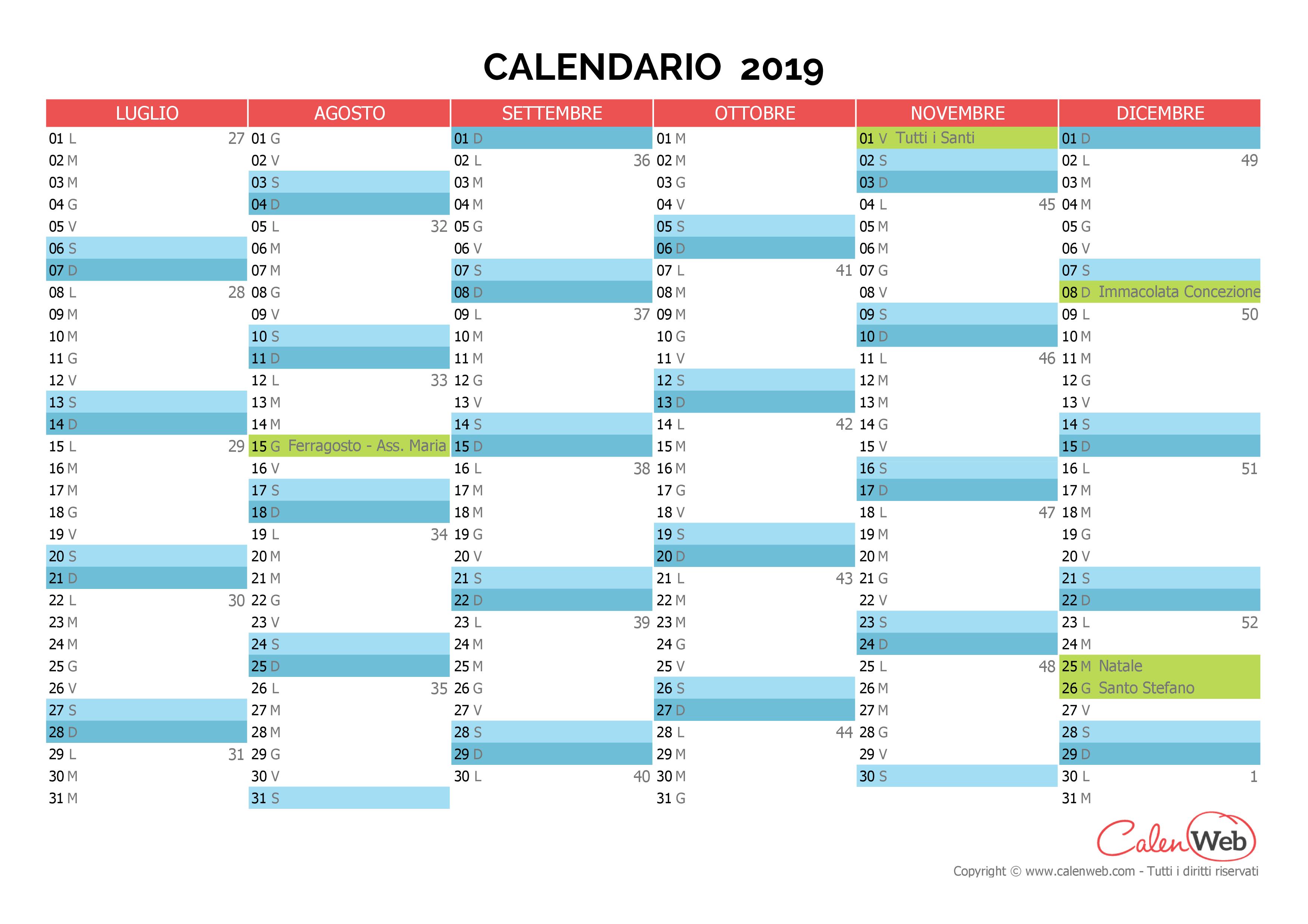 Calendario 31 Luglio 2019.Calendario Semestrale Anno 2019 Con Le Festivita Italiane