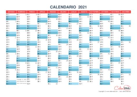 Calendario annuale – Anno 2021 Planner annuale orizzontale 2021