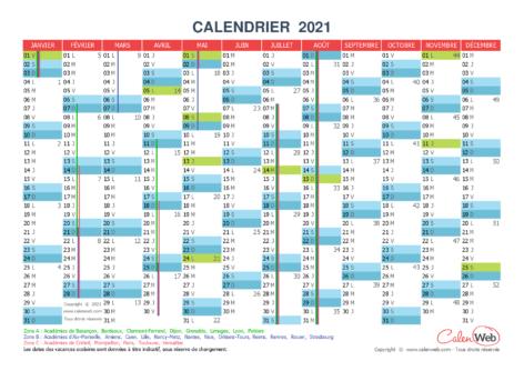 Calendrier annuel – Année 2021 avec jours fériés et vacances scolaires