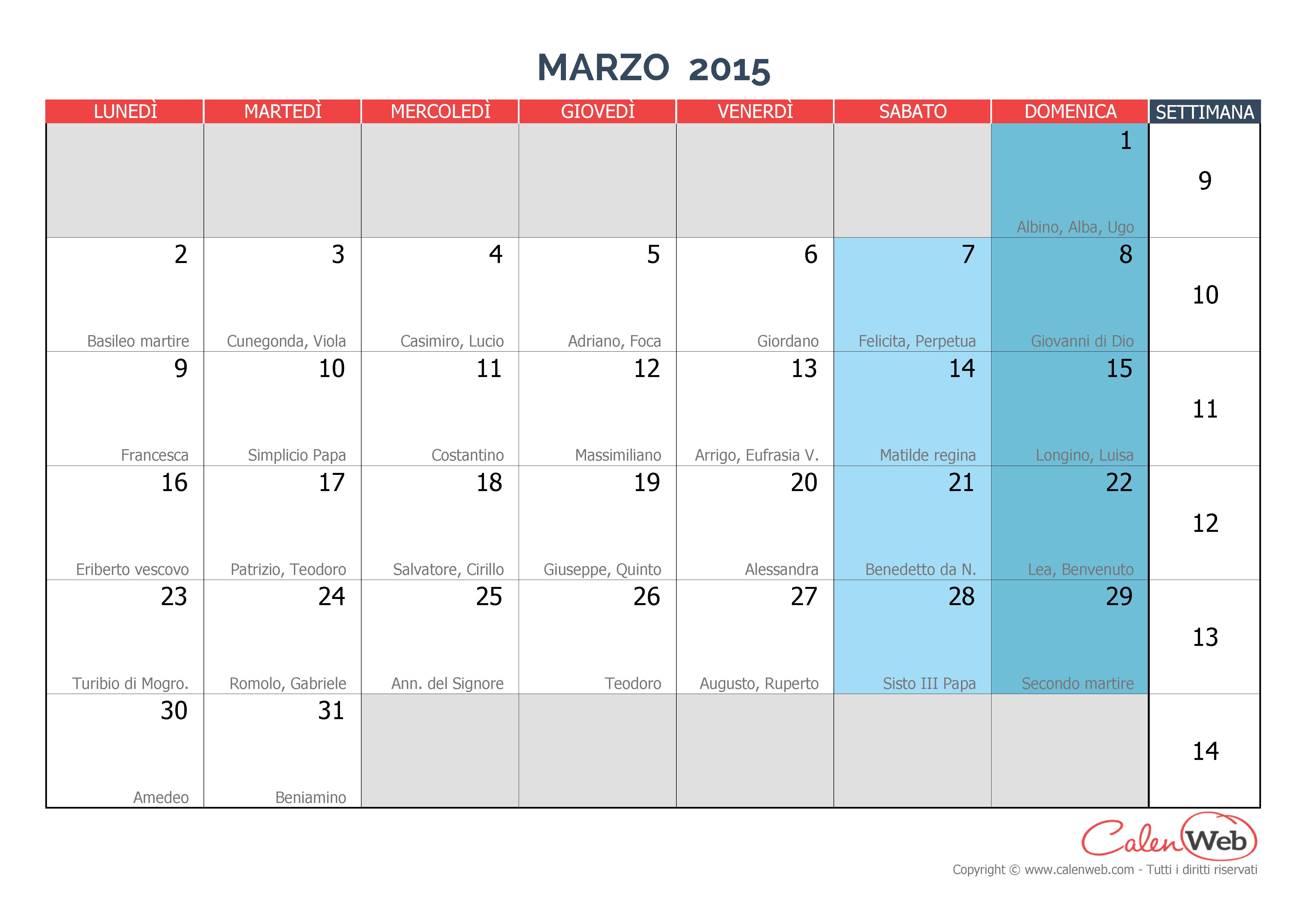 Calendario mensile - Mese di marzo 2015 con le festività italiane e i ...
