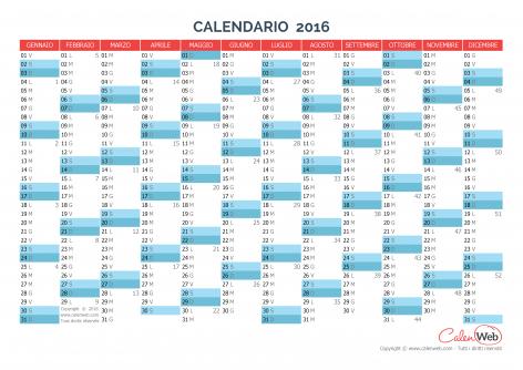 Calendario annuale – Anno 2016 Planner annuale orizzontale 2016