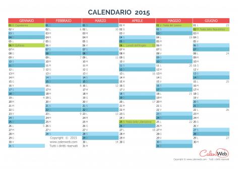 Calendario 2021 Con Festivita Da Stampare.Calendario Semestrale Anno 2015 Con Le Festivita Italiane