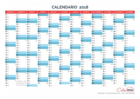 Calendario annuale – Anno 2018 Planner annuale orizzontale 2018