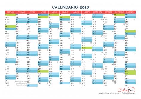 Calendario annuale – Anno 2018 con le festività italiane