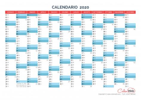 Calendario annuale – Anno 2020 Planner annuale orizzontale 2020