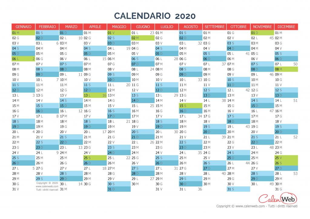 Calendario 2020 Gratis Con Foto.Calendario Annuale Anno 2020 Con Le Festivita Italiane