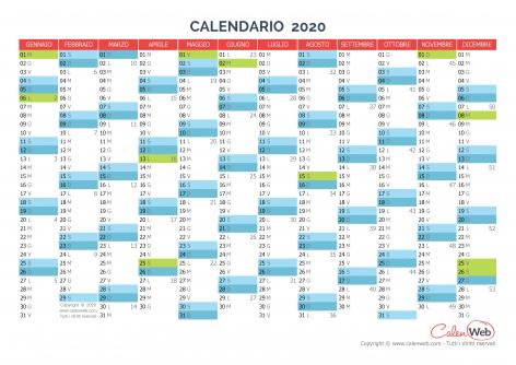 Calendario 2020 Settimanale Da Stampare.Calendario Annuale Anno 2020 Con Le Festivita Italiane