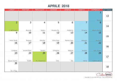 Calendario Aprile 2018 Con Festivita.Calendario Mensile Mese Di Aprile 2018 Con Le Festivita