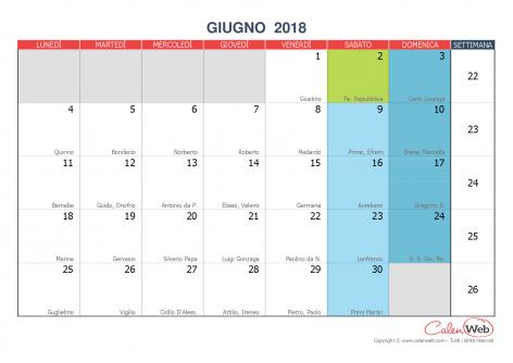 Calendario Mese Giugno.Calendario Mensile Mese Di Giugno 2018 Con Le Festivita