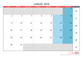 Calendario mensile – Mese di luglio 2018