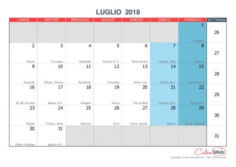 Calendario Di Luglio.Calendario Mensile Mese Di Luglio 2018 Con Le Festivita