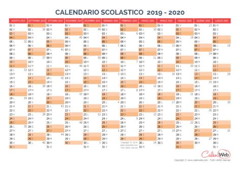 Calendario scolastico annuale 2019-2020 Versione vergine