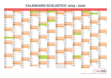 Calendario scolastico annuale 2019-2020 con le festività italiane