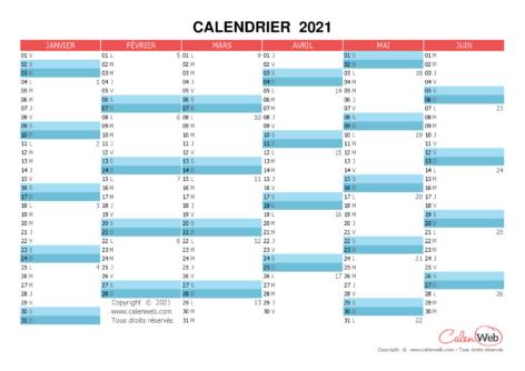 Calendrier semestriel – Année 2021 Planning semestriel vierge