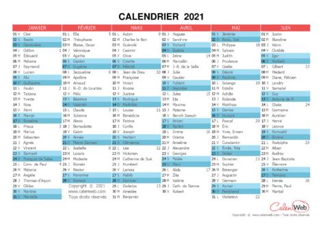 Calendrier semestriel – Année 2021 avec affichage des fêtes