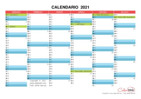 Calendario semestrale – Anno 2021 con le festività italiane