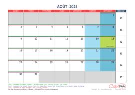 Calendrier mensuel – Mois d'août 2021