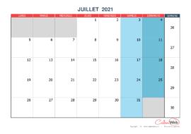 Calendrier mensuel – Mois de juillet 2021