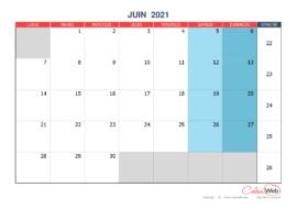 Calendrier mensuel – Mois de juin 2021