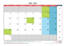 Calendrier mensuel – Mois de mai 2021