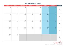 Calendrier mensuel – Mois de novembre 2021