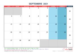 Calendrier mensuel – Mois de septembre 2021