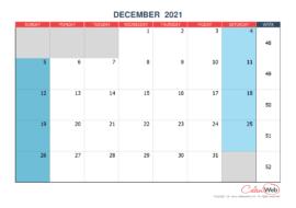 Monthly calendar – Month of December 2021