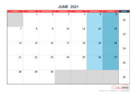 Monthly calendar – Month of June 2021