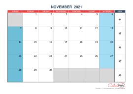 Monthly calendar – Month of November 2021