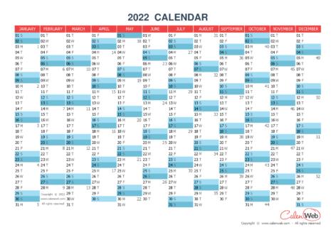 Yearly calendar – Year 2022 Yearly horizontal planning