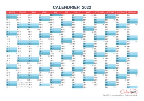 Calendrier annuel – Année 2022 Version vierge