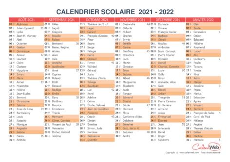 Calendrier scolaire semestriel 2021-2022 avec affichage des fêtes du jour